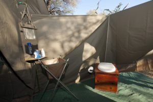 Botswana mobile safari bathroom setup