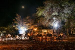changa safari camp night fireplace