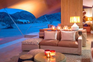 northern namibiaHoanib Skeleton Coast Camp Lounge Interior In Evening