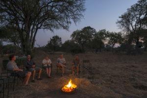 camp chitake mana pools campfire