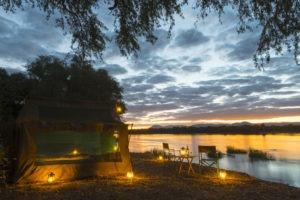 camp zambezi mana pools tent view night