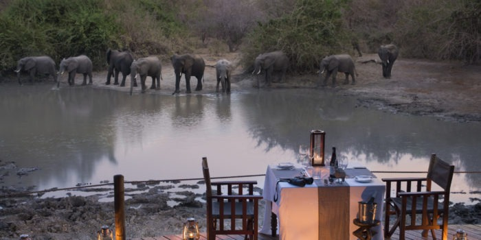 kanga camp mana pools elephants diner