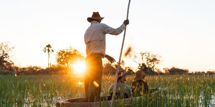 mokoro sunset okavango delta