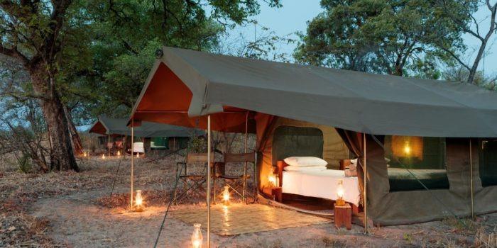 nkozi camp south luangwa tents lanterns