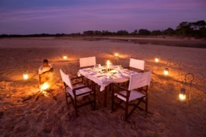 zambia south luangwa walking safari sunset romatic dinner