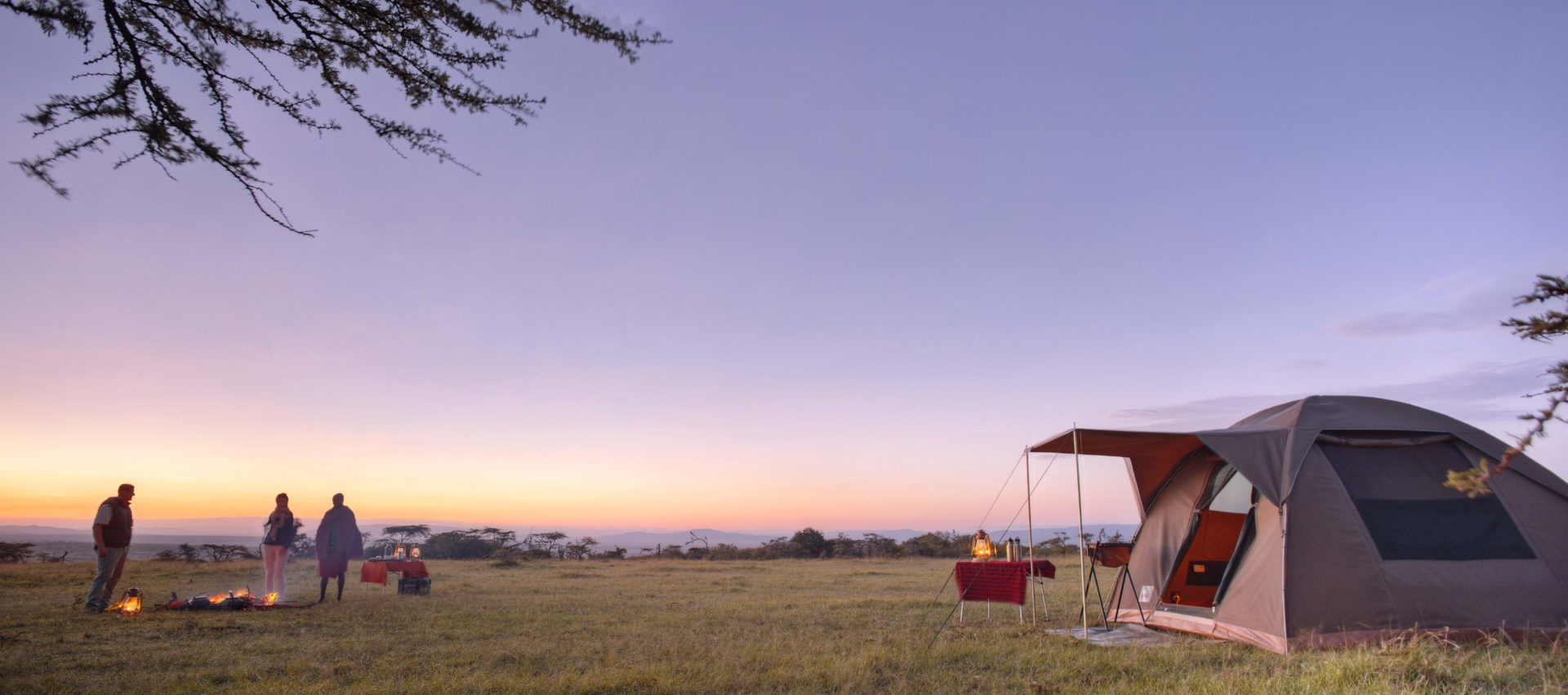 Encounter Mara Flycamp sunrise over conservancy