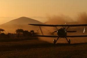 Flying at sunrise