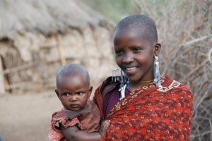 Pferdesafari Masaaifrau mit Baby