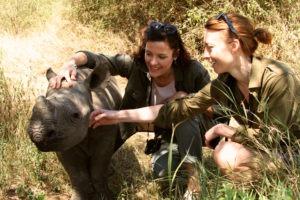 Visiting the baby rhinos