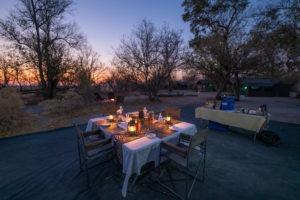 mobile safari botswana luxury dinner stars