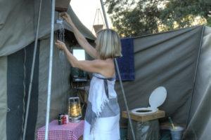 Botswana mobile safari shower ensuite bathroom