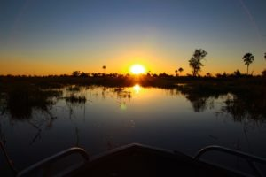 Trans Okavango boating expedition amazing sunset