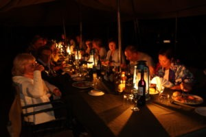 Trans Okavango boating expedition candlelight dinner
