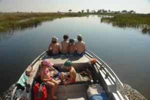Trans Okavango boating expedition family photo