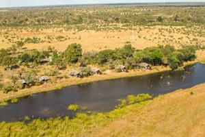 kwando lagoon camp aerial