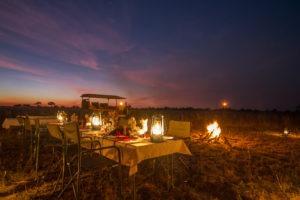 kwando lagoon camp dinner