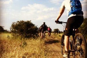 northern tuli botswana cycling safari team riding along track