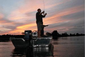 okavango delta botswana fishing at sunset