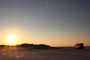 Makgadikgadi Pans Kubu Island Salt Pans Sunset