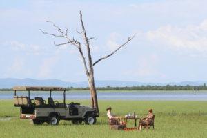 changa safari camp kariba drinks next to lake