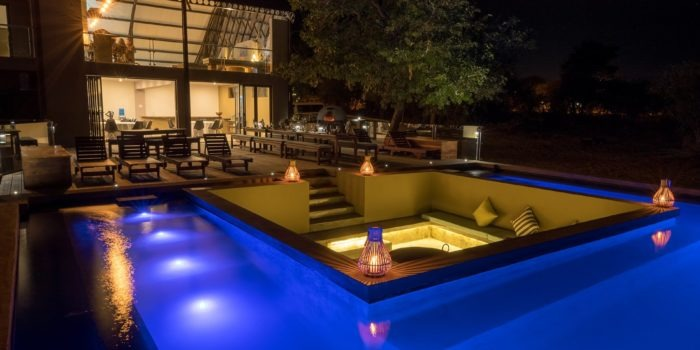 chobe pangolin hotel pool night