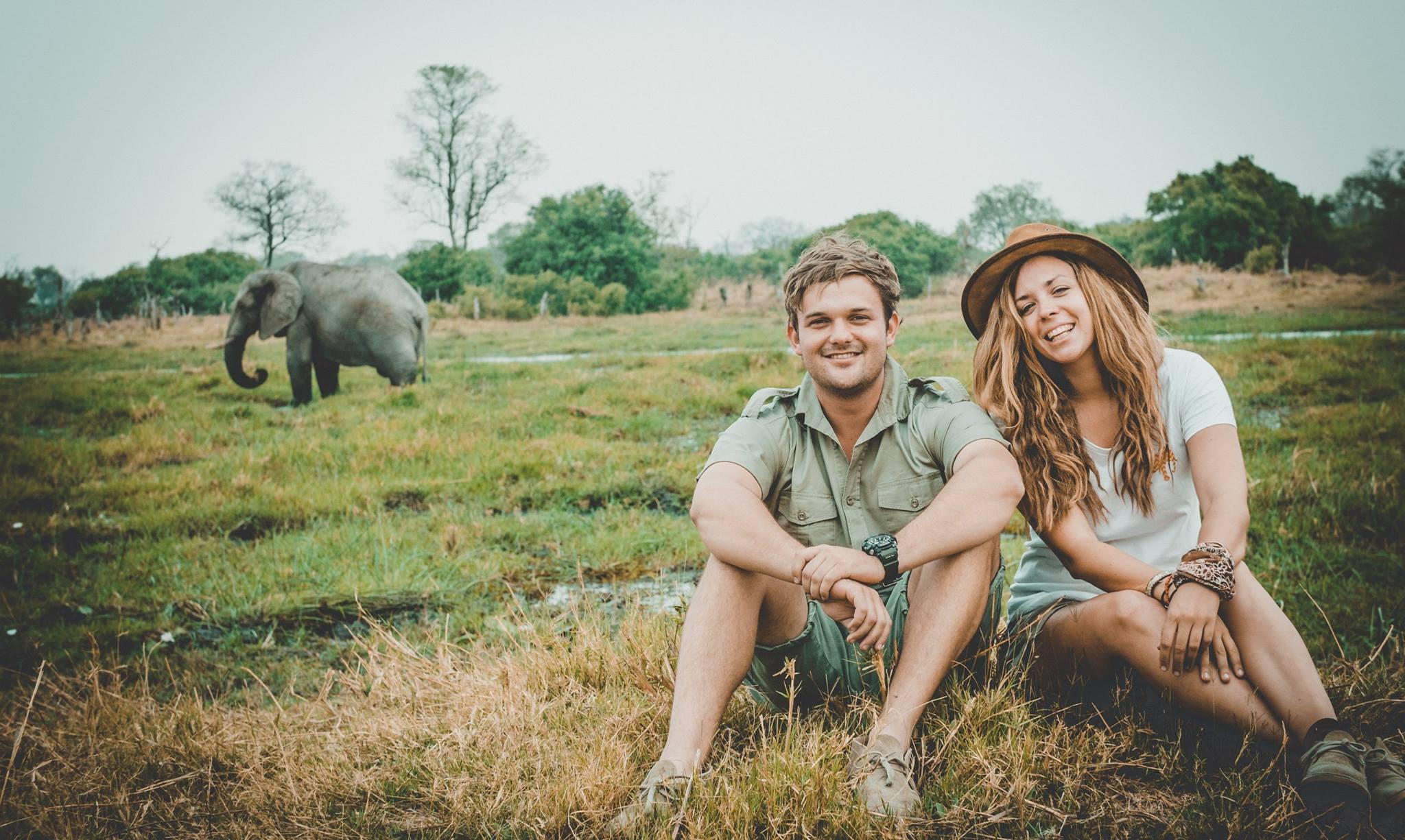 frank and gesa on safari botswana