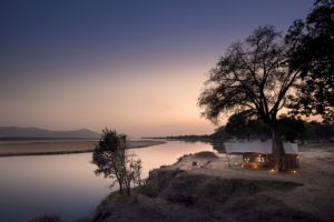 zambezi expeditions mana pools tent sunset