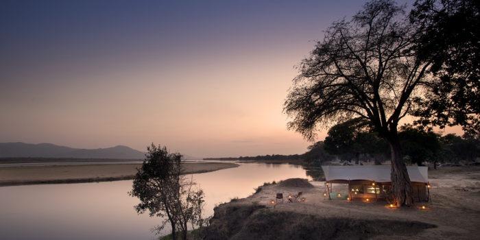 zambezi expeditions mana pools tent sunset