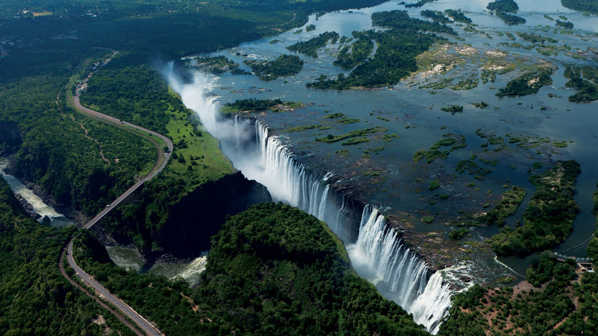 zambia and zimbabwe victoria falls aerial photo