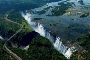 zambia and zimbabwe victoria falls aerial photo