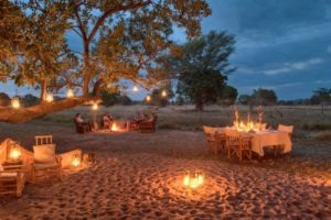zambia luangwa valley candlelight dinner outside