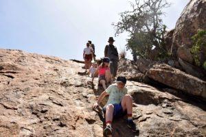 Kids coming down baboon rock