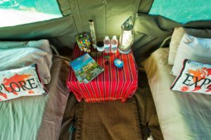Okavango Expeditions tent inside close mobile