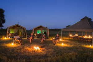 Okavango Expeditions tent outside night obile
